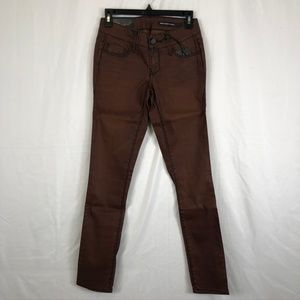 Black Orchid Brown Waxed Skinny Jeans